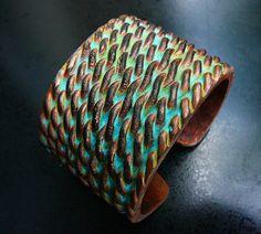 Entwined polymer clay cuff bracelet by adrianaallenllc on Etsy