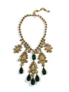 Rare Vintage Schreiner Gold Filigree Crystal and Emerald Drop Necklace