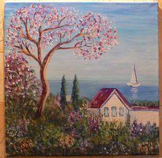 Wonderful Paradise House Ocean Original Acrylic Painting Canvas Board 16x16in Acrylic Painting Canvas Paradise Ocean Sea House Picture Wonderful work Art View 40.00 USD #goriani