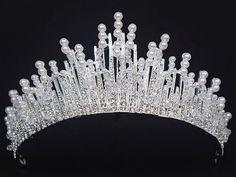 tiara 7 cm  svadobná perličková s korálikmi