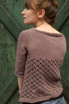 Ideia para uma blusa de tricô com dois tipos de pontos