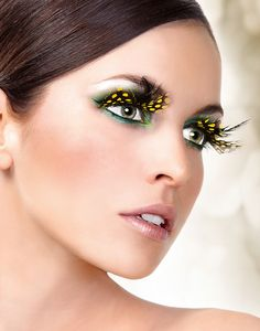 Yellow Feather False Eyelashes Extensions