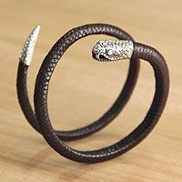 'Coiled Brown Antaboga' sterling silver and leather #bracelet