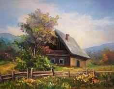 Building Painting, House Painting, Watercolor Landscape Paintings, Watercolor Paintings, Pictures To Paint, Art Pictures, Cottage Art, Great Paintings, House Landscape