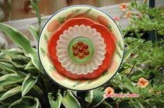 Fruity Orange Garden Flower Plate / Fine Art / Glass Art / Sculpture / Garden Yard ArtGarden flower plates make beautiful additions to any garden or to flower pot gardens.
