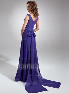 A-Line/Princess V-neck Floor-Length Chiffon Bridesmaid Dress With Ruffle Bow(s) (007001484)