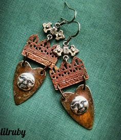 Rusty metal earrings featuring Mr.Moon - by Joan Williams of lilruby jewelry