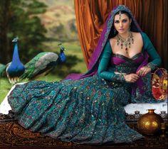 Designer Peacock Lehenga Choli Collection 2014 Designs For Brides Peacock Dress, Peacock Colors, Peacock Theme, Peacock Wedding, Peacock Feathers, Peacock Design, Indian Dresses, Indian Outfits, European Fashion