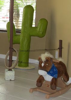 Adventures in Craftiness: Crafting a Cowboy Party: Paper Mache Cactus