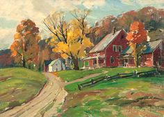 """Autumn Landscape with Red Farmhouse,"" Aldro Thompson Hibbard, oil on canvasboard, 17 3/4 x 24 5/8"", private collection."