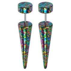 Multi Color Splat On Black Acrylic 18G Faux Tapers. Sold as a pair #Bodyvibe