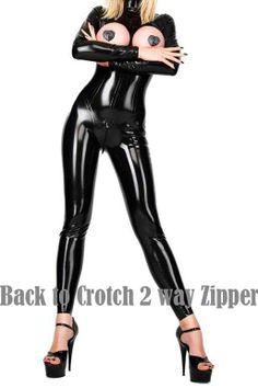 d55515ed921 Women Sexy Wet Look Pu Faux Leather Jumpsuits Black PVC Catsuit Teddy  Clubwear latex Bodysuit Zip up Stripper Catwoman Costumes
