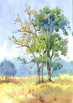 44 Ideas For Watercolor Art Paintings Landscape Trees Tree Watercolor Painting, Watercolor Painting Techniques, Watercolor Pictures, Watercolor Landscape Paintings, Easy Watercolor, Watercolor Sketch, Watercolor Illustration, Watercolor Flowers, Tattoo Watercolor