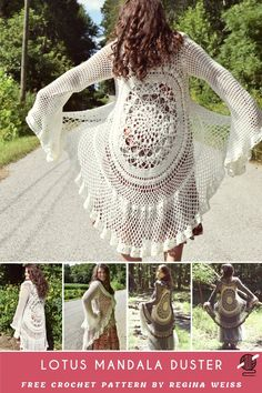 Lotus Mandala Duster Crochet Jacket [FREE Amazing stunning crochet coat like a poncho, lovely bohemian lace duster jacket, available for free. This coat can be fit to any size. Perfect for the warm season,. Crochet Jacket Pattern, Crochet Coat, Crochet Shawl, Crochet Baby, Free Crochet, Crochet Dolls, Mandala Crochet, Crochet Sweaters, Pattern Dress