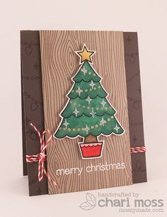Lawn Fawn - Trim the Tree and coordinating dies, Woodgrain Backdrops, Peppermint Lawn Trimmings _ lovely rustic style card by Chari