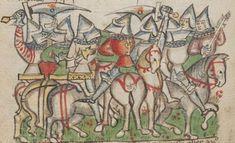 14th century helmet / helmets ( manuscript : ONB Han. Cod. 2915 Historia belli Troiani soluto sermone scripta, Folio 56v, 1390-1400, Germany )