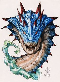 SALE Monster Hunter Lagiacrus Dragon By Ashley by Sealpuppies, Monster Hunter Art, Monster Art, Hunter Tattoo, Fantasy Creatures, Game Art, Fantasy Art, Concept Art, Original Paintings, Lion Sculpture