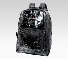 Hello Kitty Black Backpack: Embossed - Head back to school with this chic and elegant Hello Kitty embossed black backpack. This zipper closure backpack features Hello Kitty's face among bows and hearts for a lovely quilt-like pattern.