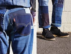 Waar komen trends als indigo, heritage fashion, patchwork, eco- en imperfect design vandaan? Japan in the picture! Old Jeans, Denim Jeans, How To Patch Jeans, Repair Jeans, Blue And White Fabric, Patched Jeans, Denim Patchwork, Clothing And Textile, Trouser Pants
