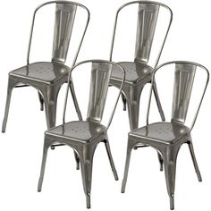 Amazon.com - Lemoderno Galvanized Steel Side Chair (4, Gun Metal) - $349 Amazon