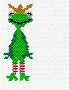 Ein Froschkönig in Brick Seed Bead Patterns, Peyote Patterns, Beading Patterns, Cross Stitch Patterns, Bead Jewellery, Bead Earrings, Miyuki Beads, Beaded Animals, Peyote Stitch