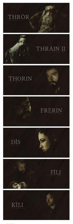 Greatgrandpa Thror, Grandpa Thrain, Uncle Thorin, Uncle Frerin, Mother Dis, Sister's son Fili and Kili