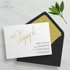 Printable Engagement Invitation Gold Foil / Copper / Rose Gold / Silver / Faux…