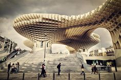 Metropol Parasol  in the level under the street, a public market on the street level, an elevated public square above, and a sightseeing platform with restaurants on the roof, with an impressive 360° view of this almost-3000-years-old incredible Spanish city.