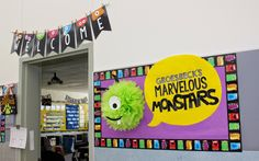 s Teaching Tidbits: Teacher Week Day 2 Classroom Digs! Monster Bulletin Boards, Monster Theme Classroom, School Classroom, Classroom Themes, Welcome Bulletin Boards, Classroom Welcome, Classroom Pictures, Classroom Board, Classroom Labels