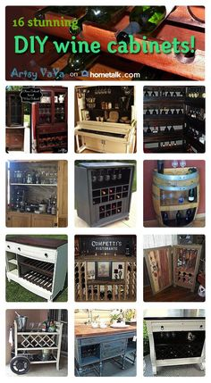 Check out these awesome DIY wine cabinets! #inspiration