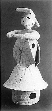 The Kofun period (AD.250-AD.592) art, Haniwa terracotta clay figure.   Medium.  Mie Japan.