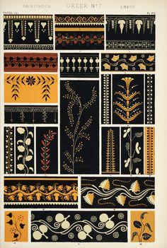 "Image Plate from Owen Jones' 1853 classic, ""The Grammar of Ornament"". Greek Pattern, Pattern Art, Pattern Design, Wall Patterns, Textures Patterns, Illustration Inspiration, Motifs Textiles, Owen Jones, Ancient Greek Art"