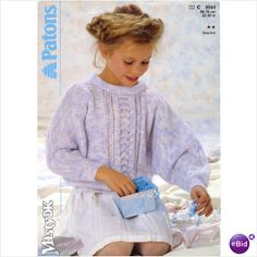 Childrens sweater knitting pattern for Misty DK yarn Patons patterns 3504 on eBid United Kingdom