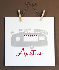 Austin Texas Food Truck Wall Art Screen Print by LoneStarLizzie