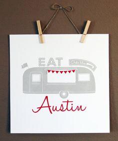 Austin Texas Food Truck Wall Art  Screen Print by LoneStarLizzie