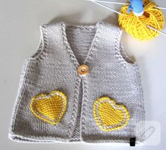 """Neuen Baby / toddler knit vest baby girl knit waistcoat by EvMik [ """"This baby vest is . Knitting For Kids, Easy Knitting, Baby Knitting Patterns, Knitting Ideas, Beginner Knitting, Cardigan Bebe, Baby Cardigan, Baby Outfits, Kids Outfits"""