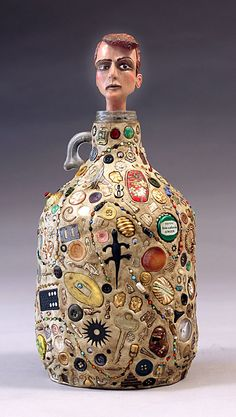Memory Jug with Custom OOAK Head by Tom Haney by tomhaney on Etsy, $495.00