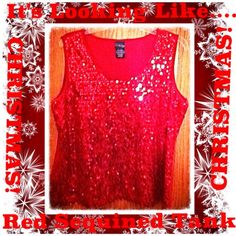 It Looks like Christmas Red Sequin Tank It's the season ....Time to sparkle and shine for the Holidays! This tank top is covered in red sequined and will shine for miles away! It's sized at a XL and I'm a XXL and it was short and tighter on me! Best for XL or large! This tank is a must have holiday essential! Tried on but never worn! Measures  UNSTRETCHED :  armpit to armpit 20 in. , Armpit to bottom 16 in. Top of tank to bottom 22 in.  STRETCHED: Arm to Arm 24 in. , Arm to bottom 18 in. Top…