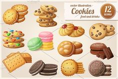 Cookies: Cartoon vector food icons by Ann-zabella on @creativemarket