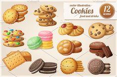 Cartoon Drawings Cookies: Cartoon vector food icons by Ann-zabella on Brownie Oreo, Brownie Cookies, Yummy Cookies, Oreo Brownies, Oreo Ball, Oreo Milkshake, Cookie Drawing, Food Drawing, Drawing Ideas