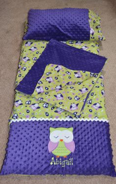 Owl Nap Mat Cover with Pillow and Blanket by SarahSunshineDesigns, $60.00