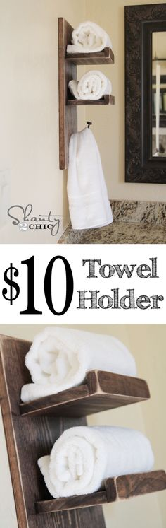 Super cute and easy DIY Towel Holder at www.shanty-2-chic.com … LOVE THIS! #DIY #Ideas #pallets