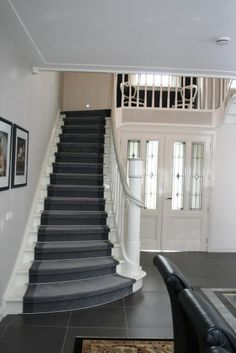 Cheap Carpet Runners For Hall House, Home, Staircase Design, Curved Staircase, Stairs Home Depot, New Homes, Painted Stairs, Carpet Stairs, Stairs