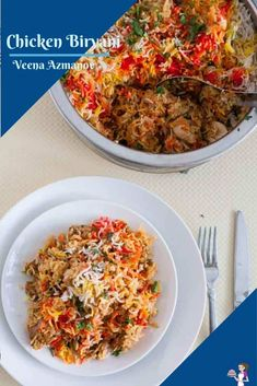 This Indian chicken biryani is yogurt marinated chicken cooked under aromatic basmati rice flavored with spices and garam masala. It also includes golden fried onions and saffron or food color for that vibrant authentic look. #ChickenBiryani #IndianBiryani #HyderabadiBiryani #BestBiryani #Biryani Rice Dishes, Veggie Dishes, Savoury Dishes, Food Dishes, Easy Indian Recipes, Asian Recipes, Great Recipes, Ethnic Recipes, Favorite Recipes