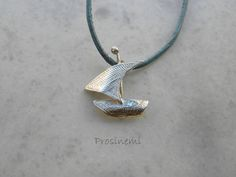 Sailboat Pendant, Nautical Necklace, Summer silver boat with engraved sail, summer jewellery