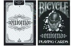"""Bicycle Enigma Playing Cards by Bicycle. $10.95. Unique Font style makes the decks title """"Enigma"""" , Be able to be read forwards and backwards and upside down. deck has custom jokers and ace of spades. Two additional blank back cards are also included. only 2,500 will be produced."""