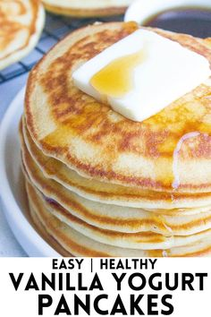 Yogurt Pancakes, Pancakes And Waffles, Buttermilk Pancakes, Breakfast Dishes, Breakfast Recipes, Breakfast Ideas, Breakfast Time, Kitchen Recipes, Cooking Recipes