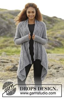 """Winter Bird - Knitted DROPS square jacket with lace pattern, worked sideways in """"BabyAlpaca Silk"""" and """"Kid-Silk"""". Size: S - XXXL. - Free pattern by DROPS Design"""