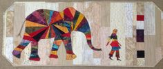paper pieced elephant and woman