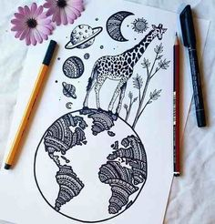 Find images and videos about beautiful, art and black and white on We Heart It - the app to get lost in what you love.Imagen de drawing, art, and giraffecolors, draw şi world imagine pe We Heart ItHead full of dreams.mandala style drawing in pen Doodle Drawings, Doodle Art, Easy Drawings, Zentangle Drawings, Colorful Drawings, Mandala Art, Easy Mandala Drawing, Mandala Doodle, Dibujos Zentangle Art
